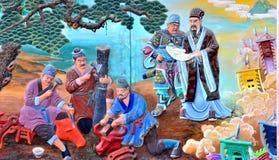 Het Chinese schilderen van oude Chinese mensen vóór de oorlog Stock Foto's