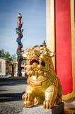 Het Chinese standbeeld van de beschermer gouden leeuw Stock Fotografie