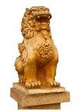Het Chinese standbeeld van de steenleeuw het symbool van macht voor Chinees Stock Afbeelding