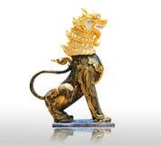 Het Chinese standbeeld van de steenleeuw het symbool van macht voor Chinees Stock Foto's