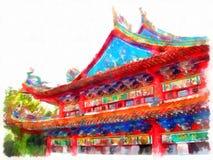 Het Chinese tempel schilderen stock illustratie
