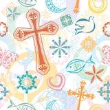 Het christelijke Naadloze Patroon van Symbolen Stock Foto