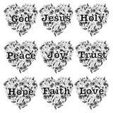 Het christendomontwerp plaatste met de lijnkunst van de hartflora en van de woordengod de Liefde van het de Hoopgeloof van Jesus  Royalty-vrije Stock Afbeelding