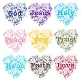 Het christendomontwerp plaatste met de lijnkunst van de hartflora en van de woordengod de Liefde van het de Hoopgeloof van Jesus  Stock Afbeelding