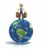 Het cijfer van de stok met bagage bovenop aarde Stock Afbeelding