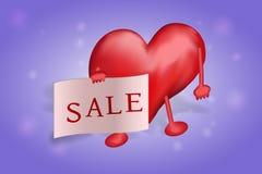 Het cijfer van hart houdt in de handen van een affiche met de inschrijving van de verkoop op een rode achtergrond stock foto