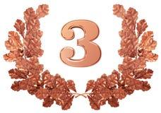 Het cijfer van het brons van drie in een kroon van eiken bladeren Royalty-vrije Stock Afbeeldingen