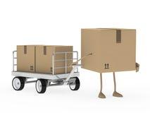 Het cijfer van het pakket trekt vervoerkarretje Stock Afbeelding