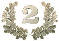 Het cijfer in zilveren kroon twee van eik gaat weg Royalty-vrije Stock Fotografie