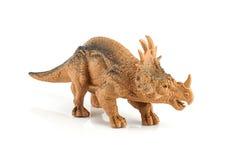 Het cijferstuk speelgoed van de Styracosaurusdinosaurus op wit wordt geïsoleerd dat Royalty-vrije Stock Foto