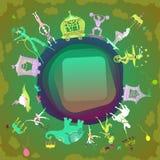 Het circus als thema had cirkelkader met copyspace voor uw tekst Stock Foto