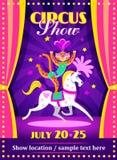 Het circus toont affiche of vlieger met een luipaard op het paard Royalty-vrije Stock Afbeelding