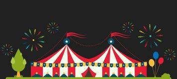 Het circus toont de markttentmarkttent van de vermaaktent openluchtfestival met strepen en markeert geïsoleerde Carnaval-tekens vector illustratie