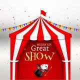 Het circus toont gebeurtenisaffiche De vectorillustratie van de circustent voor Carnaval-vermaak met vlag De tent van de festival stock illustratie