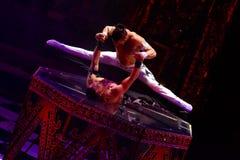 Het circus toont prestatiesbaronetten in Nizhny Novgorod Stock Foto