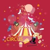 Het circus van circusprestaties toont circustent Stock Afbeelding