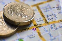 Het Circus van Oxford De kaart van Londen, het UK Stock Afbeeldingen