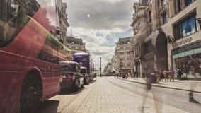 Het Circus van Oxford het winkelen hoofdstraat in Londen, tijd-Tijdspanne stock videobeelden