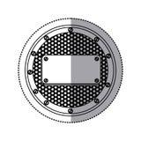 het cirkel metaalkader van het stickersilhouet met geperforeerde grill en plaque met schroeven vector illustratie