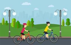 Het cirkelen, man met vrouw op fietsenrit in stadspark royalty-vrije illustratie