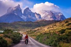 Het cirkelen in Torres del Paine NP royalty-vrije stock foto's