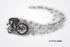 Het cirkelen van fiets van een silhouet van deeltje vector illustratie