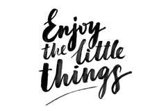 Het citaat geniet van de kleine dingen royalty-vrije stock afbeelding