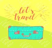 Het citaat van de reisinspiratie met koffer Royalty-vrije Stock Afbeeldingen