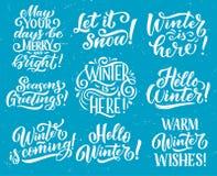 Het citaat van de de winter het seizoengebonden vakantie van letters voorzien stock illustratie