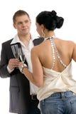 Het clinking van het paar met champagne Royalty-vrije Stock Fotografie