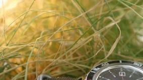 Het close-up op het groene gras ligt een het duiken horloge met een nadruk op de beweging van de rode secondenhand op de zwarte stock footage