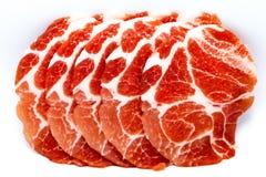 Het close-up sneed ruw varkensvlees royalty-vrije stock fotografie