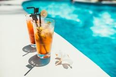 Het close-up van alcoholische dranken, ijs en jenever en tonische limonade en mojito met kalk diende koude Stock Fotografie