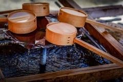 Het close-up van bamboegietlepels Royalty-vrije Stock Afbeeldingen
