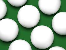 Het close-up van biljartballen op een groene 3d achtergrond geeft terug royalty-vrije illustratie