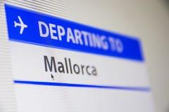 Het close-up van het computerscherm van vlucht aan Mallorca, Spanje stock foto's