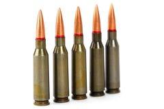 Het close-up van de arsenaalmunitie op witte achtergrond wordt geïsoleerd die royalty-vrije stock foto