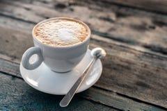 Het close-up van de cappuccinokop Stock Foto's