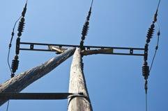 Het close-up van de elektriciteitspool Stock Foto