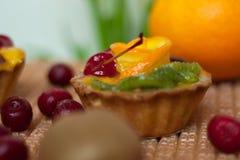 Het close-up van de fruitcake stock foto