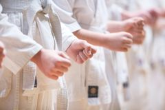 Het close-up van de kindvuist self-defence concept Gezonde Levensstijl Kyokushinbeweging stock afbeelding