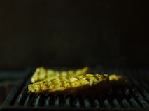 Het close-up van drie griiled stukken van vlees Gebraden varkensvlees op een grillachtergrond Rokerige schotel De ruimte van het  Royalty-vrije Stock Fotografie