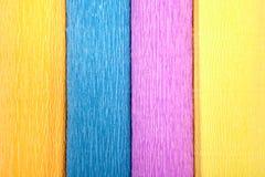 Het close-up van gekleurde vier omfloerst document broodjes, textuur voor achtergrond Stock Afbeeldingen