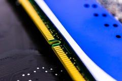 Het close-up van het computergeheugen Stock Afbeeldingen