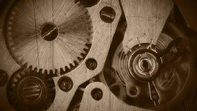 Het close-up van het horlogemechanisme. Oude film stock video