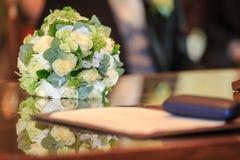 Het close-up van het huwelijksboeket Stock Foto
