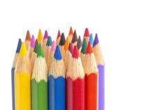 Het close-up van kleurenpotloden stock foto's