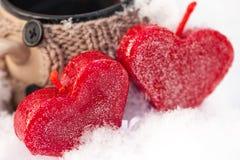 Het close-up van liefdekaarsen Stock Fotografie