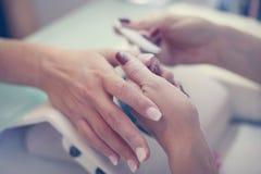 Het close-up van vrouwelijke handen die manicured zijn Royalty-vrije Stock Foto