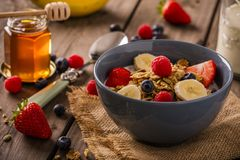 Het close-uplandschap van het ontbijtgraangewas stock foto